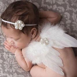 Engelsflügel & Haarband Set für Neugeborenen / Baby Fotografie