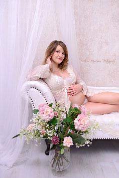 """Tunika Babybauchkleid / Belly Kleid """"Sofie"""" für Fotografie creme"""
