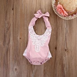 Rüschenbody für Baby Fotografie Vintage hellrosa