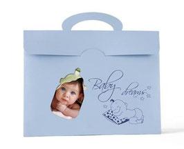 80x Baby Fototaschen / Fotomappen in blau und rosa