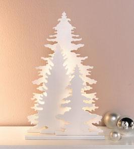 leuchtende Wintertanne aus Holz