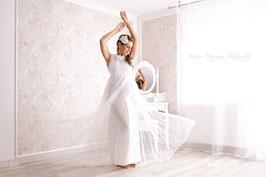 """Babybauchkleid / Belly Kleid """"Flora"""" für Fotografie weiß"""