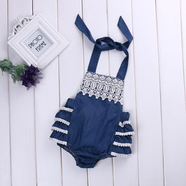 Ruffelbody im Vintagestil für Babies blau/weiß