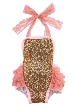 Glitzer Body gold / rosa für Babies