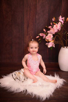 Rüschenbody für Baby Fotografie Vintage altrosa