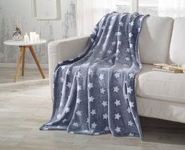 Kuscheldeko dunkelblau mit weißen Sternen