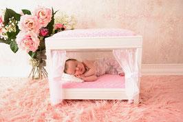 Prinzessinenbett / Prop für Fotografie rosa / weiß