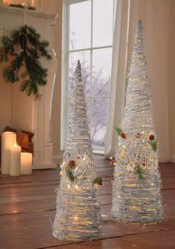Leuchttannen Winterwald 2er Set mit LED