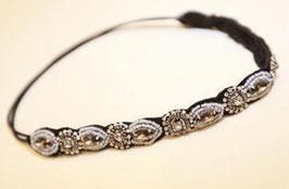 Vintage Straß Haarband zum Binden schwarz