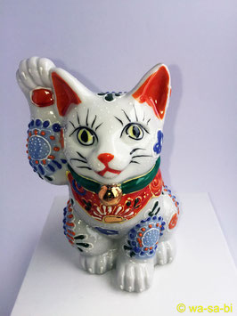"""九谷焼 """"ホワイト"""" 招き猫"""