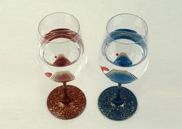 秀衡塗 ワイングラス「富士&赤富士」