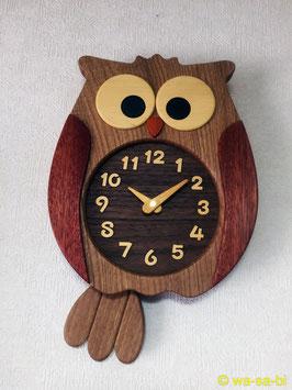 旭川 寄せ木 ふくろう 掛け時計