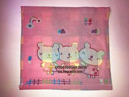 Three Layers Of Gauze Handkerchief 9.5 * 9.5 inches( Pink ) 三层纱布小方巾手帕 9.5* 9.5英寸(粉色)