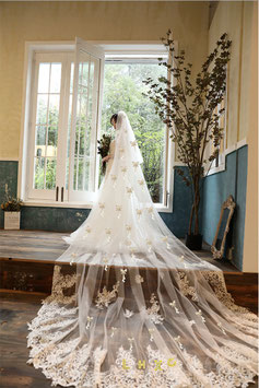 LHXC  Church White Plus Velvet Pearl Butterfly Bridal Veil - LHXC 教会白色加绒珍珠蝴蝶新娘头纱