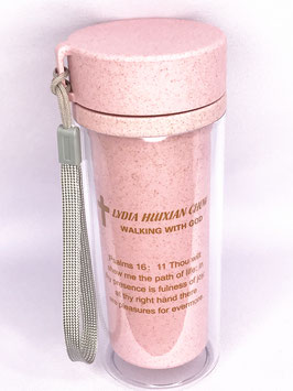 Wheat Straw Wheat Scented Fiber Double Layer Transparent Insulation Anti-scalding Cup (Pink) 小麦秸秆麦香纤维双层透明保温防烫杯(粉色)
