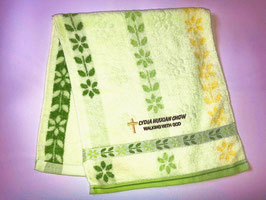 Petal Fashion Soft  Cotton Embroidery  Bath Towel 28 * 13 inches( Green ) 花瓣时尚柔软纯棉刺绣浴巾 28* 13英寸(绿色)