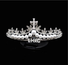 LHXC Pearl Crown Necklace Earrings  Three Piece Bridal Accessories   LHXC 珍珠皇冠项链耳环 新娘饰品三件套