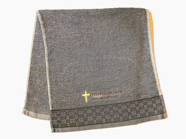 Plain Weaving Fashion Soft  Cotton Embroidery  Bath Towel 28 * 13 inches( Gray ) 平织时尚柔软纯棉刺绣浴巾 28* 13英寸(灰色)