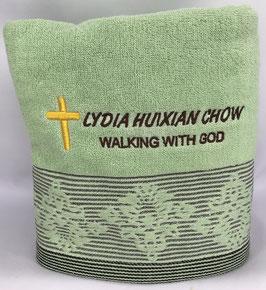European Flower Fashion Soft  Cotton Embroidery Beach Bath Towel 54*26 inches (Green)欧洲花时尚软棉刺绣沙滩浴巾 54* 26英寸(绿色)