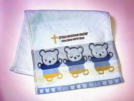 Little Bear Fashion Soft  Cotton Embroidery  Bath Towel 19.5 * 11 inches( Blue) 小熊时尚柔软纯棉刺绣浴巾 19.5* 11英寸(蓝色)