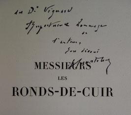 Georges COURTELINE,  Messieurs les Ronds-de-Cuir, Javal et Bourdeaux, 1927, envoi autographe signé, aquarelles de SEM