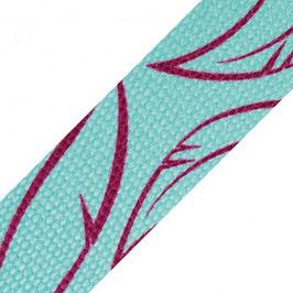 Gurtband Muster Federn türkis und fuchsia by Hanabi, Breite 3 cm bzw 30mm