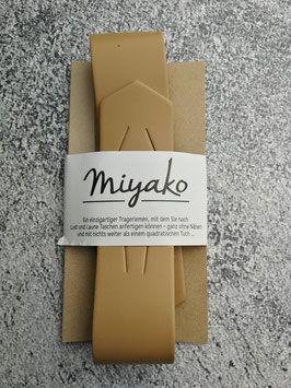 Miyako, Leder, Trageriemen, Schultergurt, Taschenriemen, Lederriemen, Ledertrageriemen, aus Frankreich, Neuheit, Farbe Beige / Hellbraun