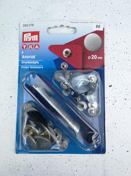Prym Anorak Druckknöpfe, 20mm, 6 Stück, mit Werkzeug, verschiedene Designs