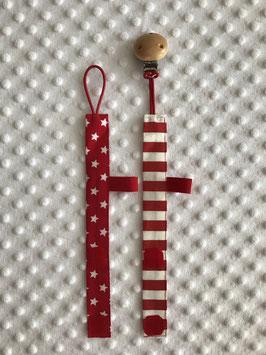 Rotes Schnullerband Bundle aus Stoff mit Clip