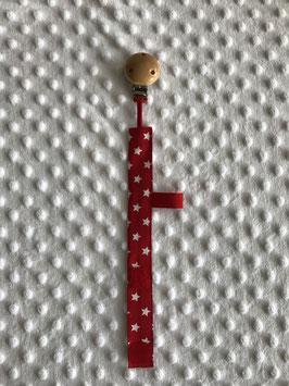 Rotes Schnullerband aus Stoff mit Clip