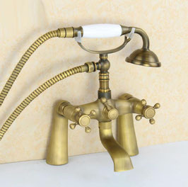Antique Brass Bathroom Deck Mount Dual Handles Telephone Tub Faucet Set With Ceramic Handle