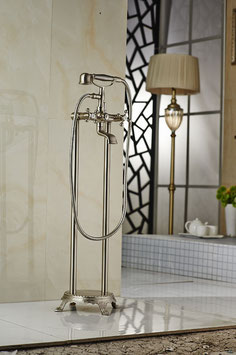 Brushed Nickel Floor Standing Bathtub Faucet Traditional Telephone Style Shower Tub Mixer Tap Set