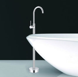 Chrome Sleek Modern Goose Neck Floor Mount Tub Filler