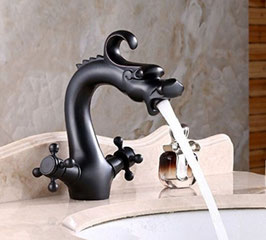 Oil Rubbed Bronze Dragon Design Sink Basin Faucet Single Lever Mixer Tap