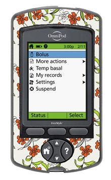 Omnipod PDM-Sticker - Blumenranken