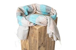Schal türkis grau beige