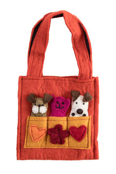 Kindertasche orange mit Fingerpuppen