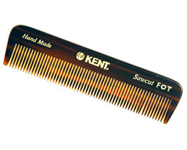 KENT FOT Pettine barba/capelli denti fitti in materiale acetato naturale rifinito a mano lunghezza 11cm