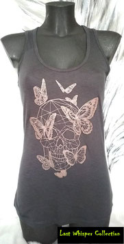 "Débardeur noir motif ""Skull Papillon"""