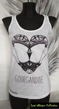 "Débardeur blanc motif ""Gourgandine"""