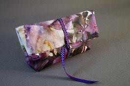 Pochette à trésor Hortensias violet satin coton