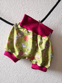Pumphose Kurz Mädchen mit Waldtiere fuchsia 68/74