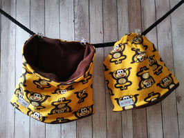 Mütze & Loop Affe gelb Loop ca. 46cm / Mütze ca. 44-46 cm