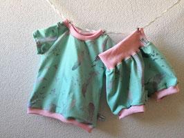 Set Federnliebe Mint 1x Pumphose kurz (68/74) & 1x T-shirt (74)