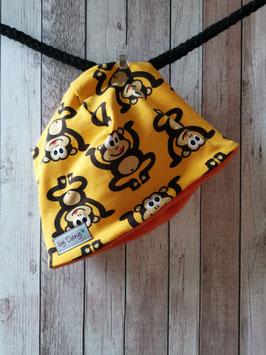 Mütze innen gefüttert Affe gelb  ca. 41-42 cm