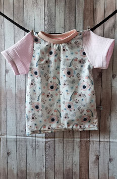 T-Shirt Vögel, Blumen und Schmetterlinge weiss, rosa 104