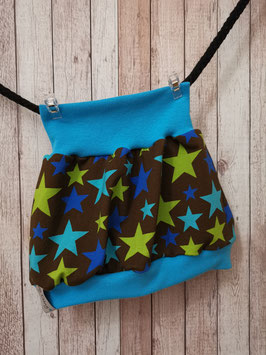 Ballonrock Sterne blau / grün auf braun 74