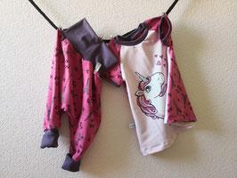 Set Einhorn pink & Eifelturm pink 1x Pumphose lang (80/92) & 1x Tunika kurz Arm (80)