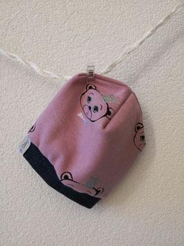 Beanie Bär mit Glitzerkrone rosa ca. 40-42 cm