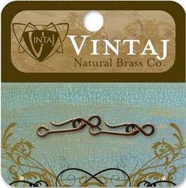 Vintaj Natural Brass 21x6mm Hook & Eye Clasp